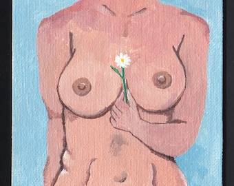 OOAK Surreal Acrylic Painting on Canvas Panel  Human Body Vase with Daisies by Dainty Dasha