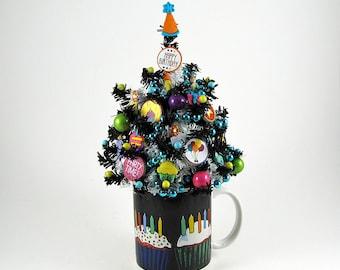 Birthday Decoration - Happy Birthday GIft - Miniature Tree - Tabletop Decoration - Office Decor - Birthday Centerpiece - Birthday Candles