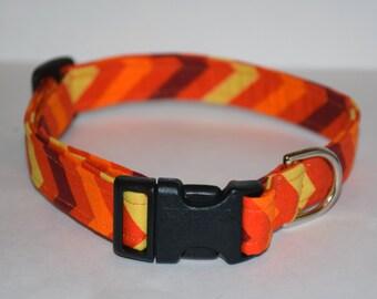 Fall Dog Collar – Chevron Dog Collar – Orange Chevron Dog Collar – Halloween Dog Collar - Handmade Fabric Dog Collar