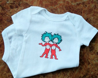 Thing 1 of 2 and Thing 2 of 2 PERSONALIZED TWIN Onesie or Toddler Tee Set, Dr Seuss Shirt, Twin Onesie Set, Twin Tee Shirt Set