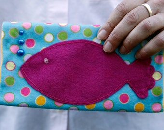 Thoughtfully Handemade Felt Fish Clutch