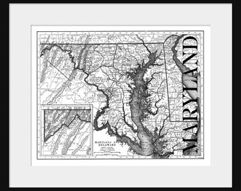 Maryland Map - Map of Maryland - Poster - Print
