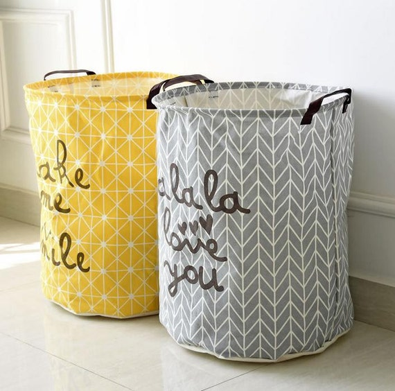 Handmade Fabric Storage Baskets : Laundry hamper basket toy storage nursery fabric