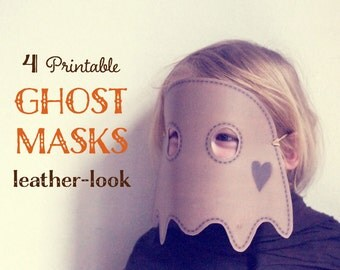 DIY ghost MASKS for halloween mask, 4 printable halloween masks, printable masks, paper masks for kids, kids mask, instant download.
