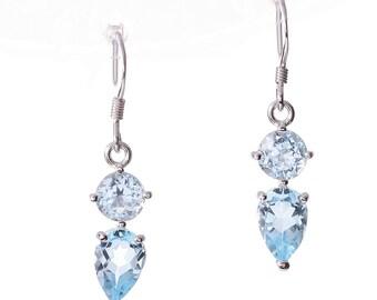 Sterling Silver Lab-Created Blue Topaz Gemstone Earrings
