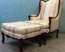 Ethan Allen Countey French Carved Lounge Chair and Ottoman
