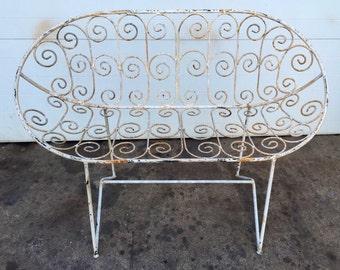 Unusual Vintage Scrolled Iron Garden Loveseat Bench