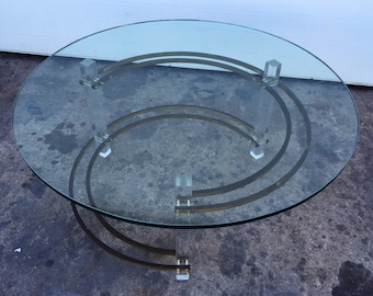 Vintage Brass and Lucite Coffee Table