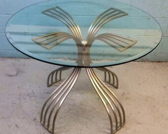 Sculptural Modern Metal Table with Glass Top