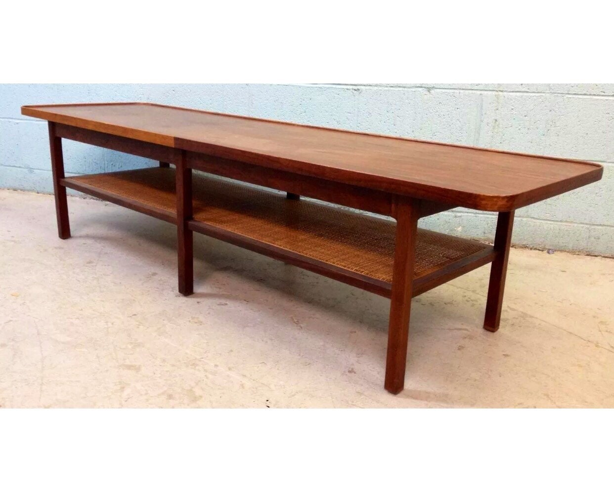 Vintage Walnut And Cane Coffee Table