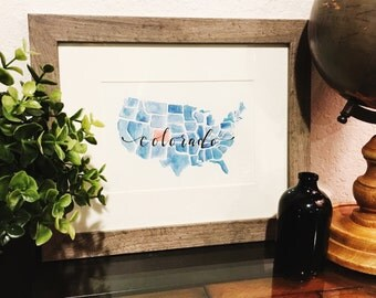 Watercolor United States Map // Colorado// 5x7. Hand Lettered. Handmade. Custom. State Art. Wall Decor. College Dorm Home Decor. State Pride