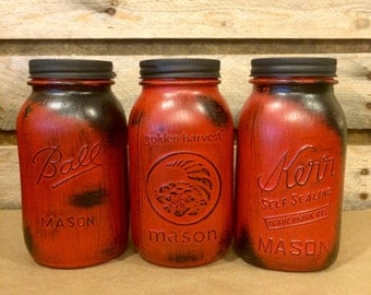 Rustic Red Mason Jars, Red Vintage Jars, Mason Jar Centerpiece, Red Kitchen  Canisters