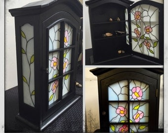 Stained Glass Key Cabinet made in USA