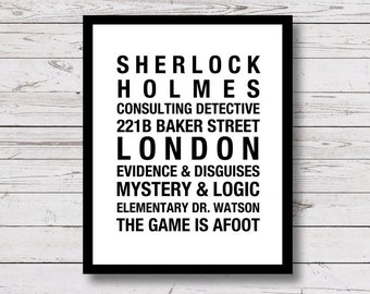 Sherlock Holmes, London, 221b, Baker Street, Printable Wall Art, Elementary, Watson, black and white, Instant Download, home decor, print