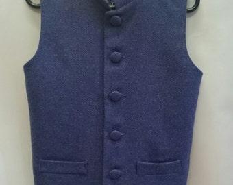 Boys blue wool waistcoat - 7-8 yrs