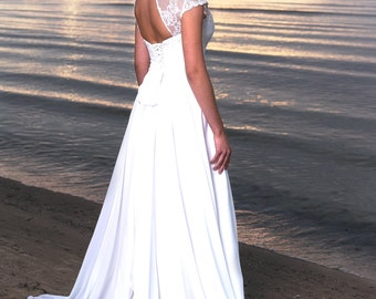 Boho Vintage Inspired A-Line Chiffon Wedding Dress with Illusion Neckline, Cap Sleeves, Lace Corset, Open Back, Long Train