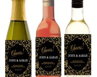 Wedding Favors Personalized Gold Glitter Wine Bottle Labels