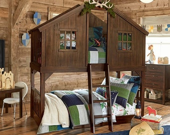 Rustic Handmade Tree House Bunk Bed Solid Wood Bunkbed