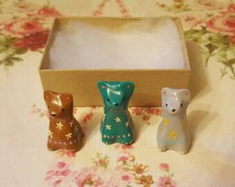 Set of Three Mini Clay Decorative Bears
