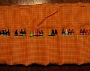 Orange and Yellow Plaid Crayon Roll 24 Crayola Crayons