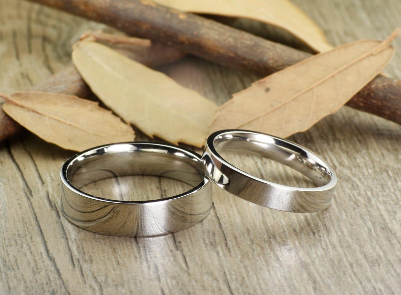 Handmade Flat Plain Matching Wedding Bands Couple Rings Set