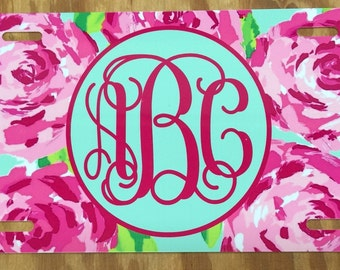 Lilly pulitzer roses Monogram License Plate personalized license plate monogram lilly pulitzer inspired Car tag