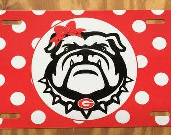 Georgia Bulldogs License Plate Georgia bulldogs car tag red polka dots Georgia dawgs car tag GA dawgs car tag