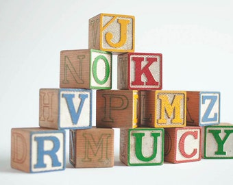 Vintage Alphabet Blocks, Wooden Alphabet Blocks by Halsam, Alphabet Blocks, Wooden Blocks, Wood Letters, Wooden Block Letters, Wooden Toy