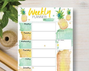 Pineapple Digital Instant Download. Printable Weekly Planner. Instant Planner Inserts A4, A5, Letter & Half (5.5 x 8.5) | #571