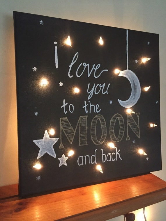 I Love You To The Moon And Back Lighted Canvas By