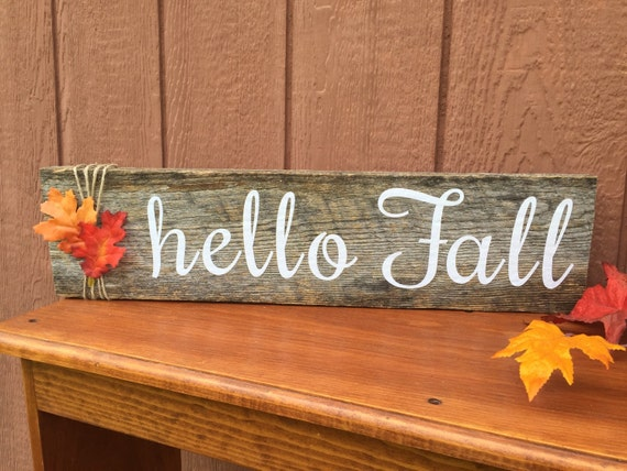 Items Similar To Customizable Quot Hello Fall Quot Wood Sign On Etsy