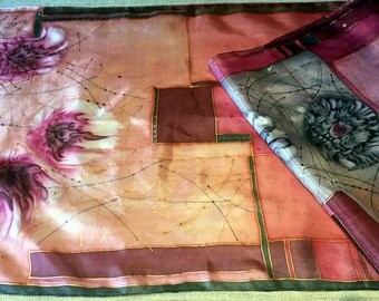 Silk (Ponge) 100% handmade scarfs for more vivid and colorful look (180 x 45 cm)