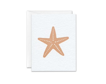 Apricot Starfish letterpress greeting card
