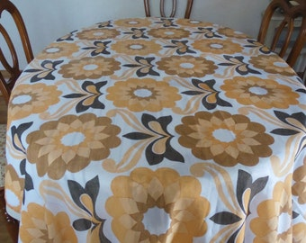 long rectangular table cloth french vintage 70's; flower power