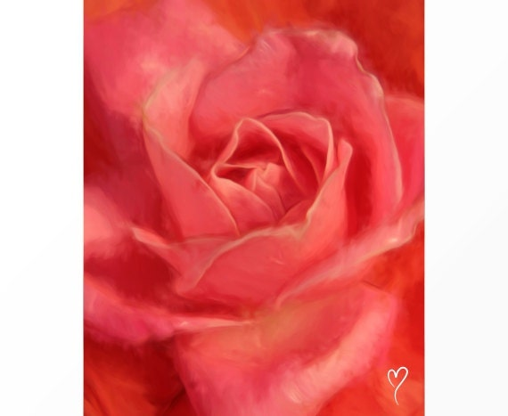 "Rose Art, Flower Wall Art Center of a Pink Rose, Home Decor, Gift for Mom, Pink Flower Print ""Petals of a Rose"""