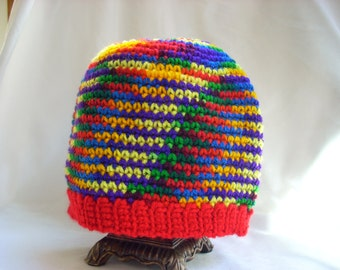 Rainbow Hat: Adult Crochet Hat, Hat #16