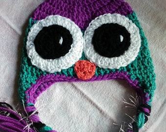Crochet Owl Hat 9-12mos - owl winter hat