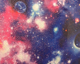 Galaxy Print Fabric Nylon Spandex With Glitter By The Yard - Multiple Colors