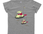Aarvarks flying bumper cars in space, grey marle, kids t-shirt
