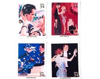 The Romance Collection - American Illustrators - Coles Phillips - John Held - Jon Whitcomb - JC Leyendecker - UNused Mint US postage stamps