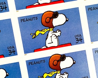 4 x Peanuts UNused 34 cents US Postage Stamps - Snoopy - Charles Schulz - for invites, mailing, collecting, crafting, card making