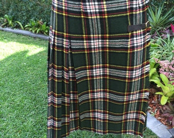 Vintage McAndrew 80s Green Plaid Wool Skirt Size 10