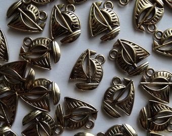 10 Gold Sail Boat Jewellery Charms 17x14mm