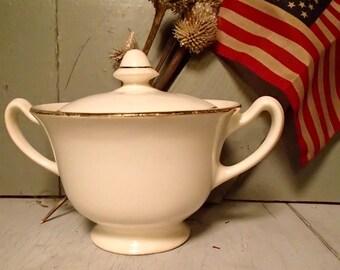 White USA Made Ceramic Sugar Bowl, Vintage Gold Trim Bowl