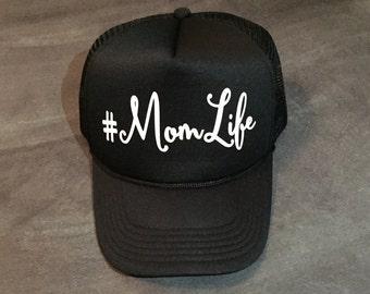 Momlife black cap with white cursive letters, Momlife caps, Momlife hats, Mom life