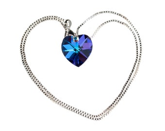 Swarovski Bermuda Blue Heart Necklace