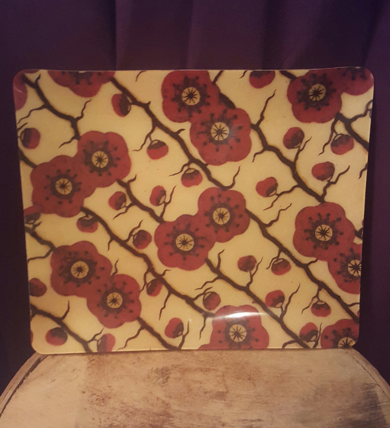 Vintage Serving Tray Retro Cherry Blossoms 1970's Style