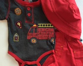 Fireman 3-piece Set, Onesie Cupcake, Baby Gift, Shower or Homecoming Gift