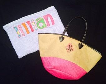SALE!!! Custom Embroidered Straw Tote Handbag