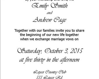 Wedding Invitation and RSVP